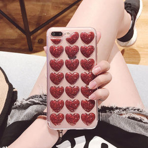 NEW iPhone SE/X/XS/78+ 3D Heart Pattern case